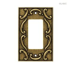 Single GFCI/Rocker Wall Plate - French Lace - Antique Brass L-126347