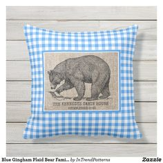 Blue Gingham Plaid Bear Family Cabin House Outdoor Pillow