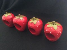 Lot of 4 WOODEN STRAWBERRY NAPKIN RINGS HOLDERS 3 Sets Available