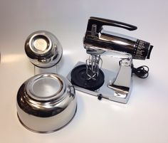 Sunbeam Mixmaster MMB Stand Mixer Chrome & Black with 2 Stainless Steel Bowls Hand Mixer by RetroReplacements on Etsy