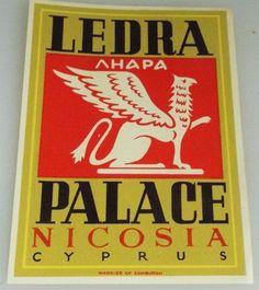 Ledra Palace - Nicosia - Cyprus - Vintage Hotel Luggage Label Nicosia Cyprus, Vintage Hotels, Luggage Labels, Palace, Army, Graphics, Gi Joe, Military, Graphic Design