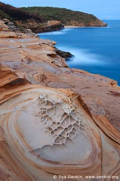 Gerrin Point at Twilight, Bouddi National Park, Central Coast, NSW, Australia - showing Liesegang Rings in the rocks;  photo by Ilya Genkin
