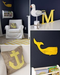 Nautical Themed Nursery-the dark navy walls are so unexpected, but work so well. Love the yellow whale and striped rug. || onto baby