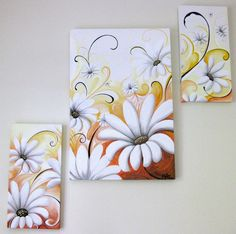 Nature and flowers painting by Suzanne Rivard, a Vancouver Island artist. Vancouver Island, Orange, Yellow, Daisies, Flower Art, Gallery, Artist, Nature, Flowers