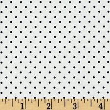 Riley Blake Swiss Dots White/Black Fabric. Free Delivery