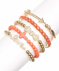 Look at this #zulilyfind! Gold & Coral Sparkle 'Love' Bracelet Set by Lux Accessories #zulilyfinds