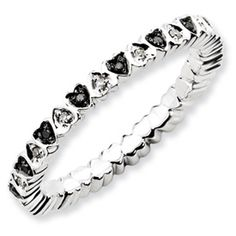 Stackable Expressions Sterling Silver Hearts Black and White Diamond Ring.  Sale Priced At $125.  #QSK1065.  Sizes 5-6-7-8-9-10.
