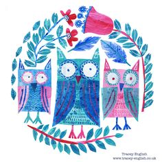 Three Owls by Tracey English www.tracey-English.co.uk