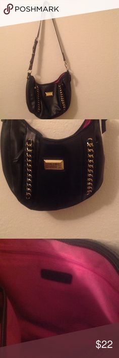 Nicole Miller Black with Gold Detailing Purse Clean purse with pink lining Nicole by Nicole Miller Bags Satchels