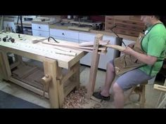 """RWW 164 Shave Pony ~ a """"portable"""" standing shave horse Woodworking Education, Green Woodworking, Woodworking Bench, Build Your Own Garage, Whittling Wood, Tool Bench, Woodworking Inspiration, Curved Wood, Homemade Tools"""