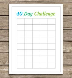 40 Day Challenge Chart. Use it for anything (running, eating well, saving money). Simply check off the box at the end of the day. Easy & motivating way to keep track of your goals! http://www.20goingon80.com/2012/07/race-is-on-running-printable-alert.html