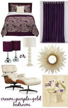 royal purple and gold rooms -for my room! Gold Rooms, Purple Rooms, Gold Bedroom, Bedroom Green, Bedroom Decor, Bedroom Ideas, Master Bedroom, Boys Bedroom Colors, Bedroom Furniture Placement