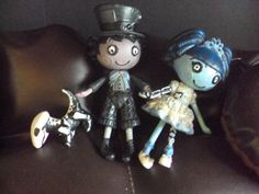 custom made for you mini lalaloopsy corpse bride...Emily & Victor & Scraps by PhoenixWingCreations