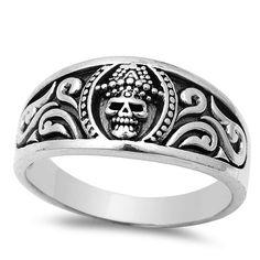 Oxidized Skull Head Ring Solid 925 Sterling Silver Unisex Men Women Ring Biker Celtic Skull Ring Mortality Gift Size 4-16 Bikers Jewelry