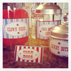 Circus themed labels I designed for a birthday party! Circus Theme Party, Circus Birthday, 4th Birthday Parties, 3rd Birthday, Birthday Ideas, Party Time, Party Party, Party Ideas, Clown Nose