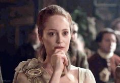 "From Terry's Blog: ""Geillis (Lotte Veerbeek) is wearing an Arisaid, a Scottish woman's plaid. It is purely an ornamental garment, obviously, as it is made of sheer fabric, and clasped at the shoulder with a Lovers Eye brooch.  I used a man's leather belt, with a jeweled buckle, at her waist, as both a nod to Highland men, and as a way to provide contrast to her delicate, translucent costume. Feminine, but dangerous."" #OutlanderSeries #Outlander"