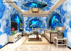 3D Dophins Pass Through White Blue Ballon Entire Living Room Wallpaper Wall Mural Decal Art IDCQW-000303