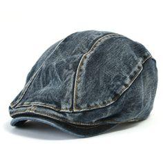 ililily Denim Newsboy Flat Cap Gatsby Caps ivy Irish Cabbie Hats Driver Hunting Hat (flatcap-514)