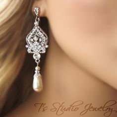 Chandelier Pearl Bridal Earrings - from T's Studio Jewelry