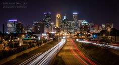 https://flic.kr/p/oBsm8g | Minneapolis Skyline | After the sun goes down but before it gets too late, a longer exposure will yield some great vehicle light trails on the freeway below.