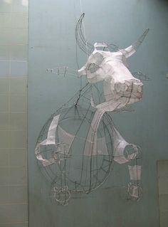whitehotel:    Polly Verity, Wire cow in progress (21st century)