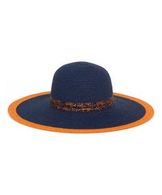 833a1c333f0 Another great find on  zulily! Orange  amp  Navy Contrast-Trim Sun Hat