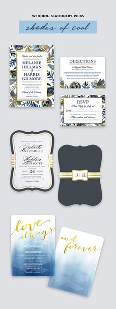 Look at these gorgeous BLUE wedding invites! Shutterfly bridal stationery blue light blue yellow gold wedding invitation cards color inspiration. #wedding #shutterfly #weddinginvites #stationery #weddingstationery