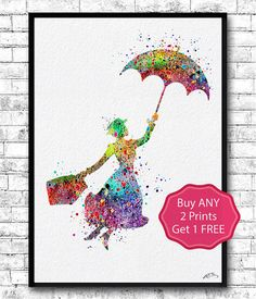 Mary Poppins 2 Watercolor Print llustrations Kid's by ArtsPrint