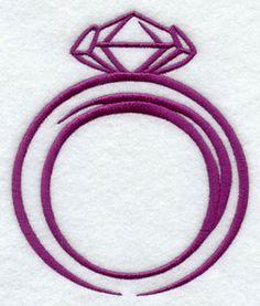 Diamond ring machine embroidery design.