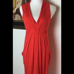 Calvin Klein Red Dress.  Sz 4 What a cute summer dress.  Sz 4.  Check it out...real comfy for those hot days. Calvin Klein Dresses Midi
