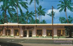 McInerny's Waikiki Department Store c1955    On Kalakaua Avenue in front of the Royal Hawaiian Hotel, designed by noted Honolulu architect Peter Wimberly in the late 1940s. McInerny's Waikiki moved down the street to a larger building designed by Vladimir Ossipoff in 1958. Irving Rosen Eaglecolor ad card.