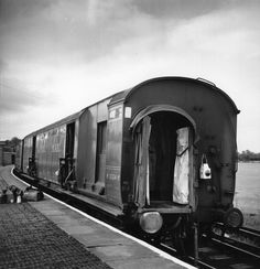 The uncoupled train coaches at Cheddington Station after the Great Train Robbery