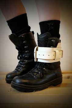 best website baadb a69b8 Unisex Leather Boot Garter - White - steampunk - burning man - apocalypse -  mad max, Please read Description for size