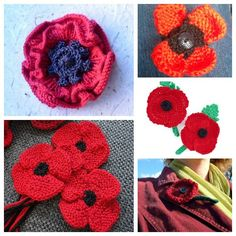 November 11 is remembered as the day when hostilities ended in World War I, and in Great Britain the day is symbolized with poppies because of the red flowers that grew in Flanders, where many viol… Knitted Poppy Free Pattern, Knitted Flowers Free, Knitted Poppies, Crochet Poppy, Poppy Pattern, Crochet Flowers, Knitting Blogs, Lace Knitting, Knitting Patterns Free