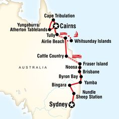 map of the route for east coast encompassedsydney to cairns