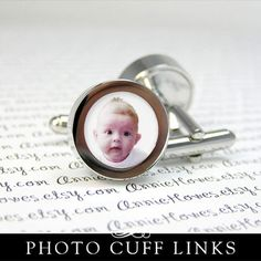 Idea: Photo cuff links for the wedding party. Dress up the groom and groomsmen in coordinating colors. Fathers Day Photo, First Fathers Day, New Daddy, Circle Shape, Groom And Groomsmen, Coordinating Colors, Monogram Letters, Print And Cut, I Am Awesome