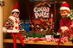 In the Cocoa Puffs! What a mess these elves make.