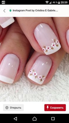 Fun and Cute French Nails – french tip nail designs – frech French Tip Nail Designs, Nail Art Designs, Flower Nail Designs, Nails Design, Fabulous Nails, Perfect Nails, French Nails, French Pedicure, Nail Manicure