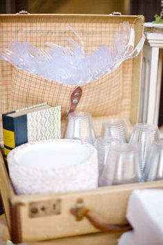 Need a cute basket, container, something for cups & mixer stuff by the bar. What with go with modern black, white & glitter? :)