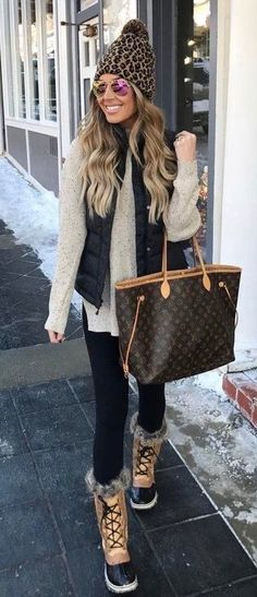 #fall #outfits brown monogrammed leather tote bag