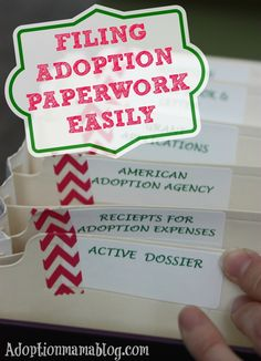 Organize Adoption Paperwork Easily. Make sure you have everything in one place so when the crazy hits you are paperwork ready! By Adoptionmamablog.com