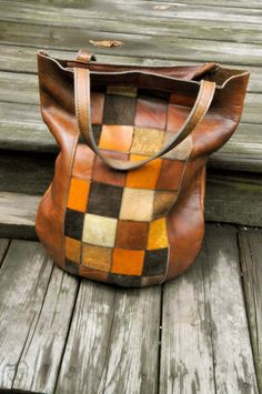 Vintage 60s Large Leather Patchwork Tote Shoulder Bag on Etsy, $1,027.07 HKD