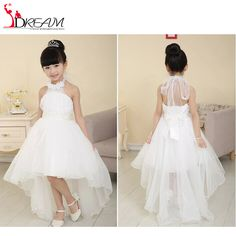 2016 Cheap White Flower Girl Dresses for Weddings Formal Puffy High Low Beaded Girls First Communion Dress Kids Prom Gown