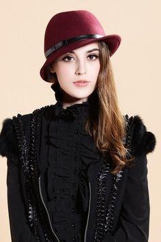 Chapéu de lã bordô com laço