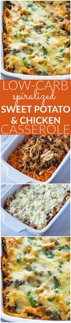 Tex-Mex Spiralized Sweet Potato & Chicken Casserole (Healthy Low-Carb) just moved in one pot dinners Healthy Potato Recipes, Hot Dog Recipes, Sweet Potato Recipes, Mexican Food Recipes, Casseroles Healthy, Hamburger Recipes, Cauliflower Recipes, Sweet Potato Spiralizer Recipes, Healthy Meals