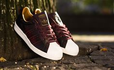 "Dark Red, Gold & White adidas Superstar Shoes 80s ""Burgundy"""