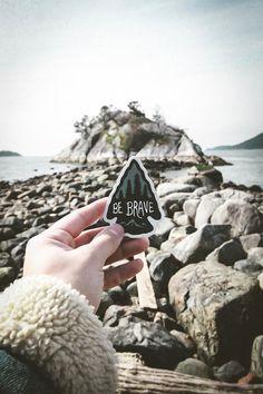 Be Brave Vinyl Sticker. Arrowhead Sticker. Affirmation Laptop Sticker. Camp Sticker. Adventure Car Decal. Mountain Bumper Sticker. Pine Tree
