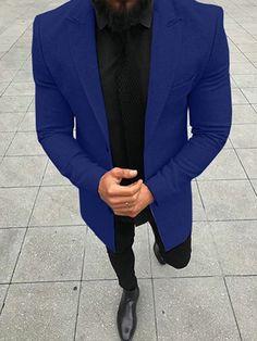 New Solid Color Coat With Long Sleeve For Gentlemen – Lolayalls Royal Blue Suit, Blue Suit Men, Blazer Fashion, Suit Fashion, Mens Fashion, Moda Formal, Mode Costume, Designer Suits For Men, Dapper Men