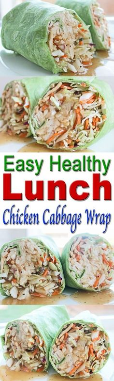 Super Easy Clean Eating Meal Plan | Easy and Cheap Healthy Meals | Weight Loss Meal Plan : Healthy Lunch Recipe: Chicken and Cabbage Wrap