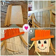Popsicle Stick Scarecrow Magnet - Nice craft for the kids. Beginners level about 1 hour to create (with drying time). Need: Elmers glue, craft sticks, paint and raffia. TIP: For a sparkle - when finished brush on some glue on the hat and dip in your favor Popsicle Stick Crafts, Popsicle Sticks, Craft Stick Crafts, Preschool Crafts, Easy Crafts, Diy And Crafts, Craft Sticks, Craft Kids, Kids Diy